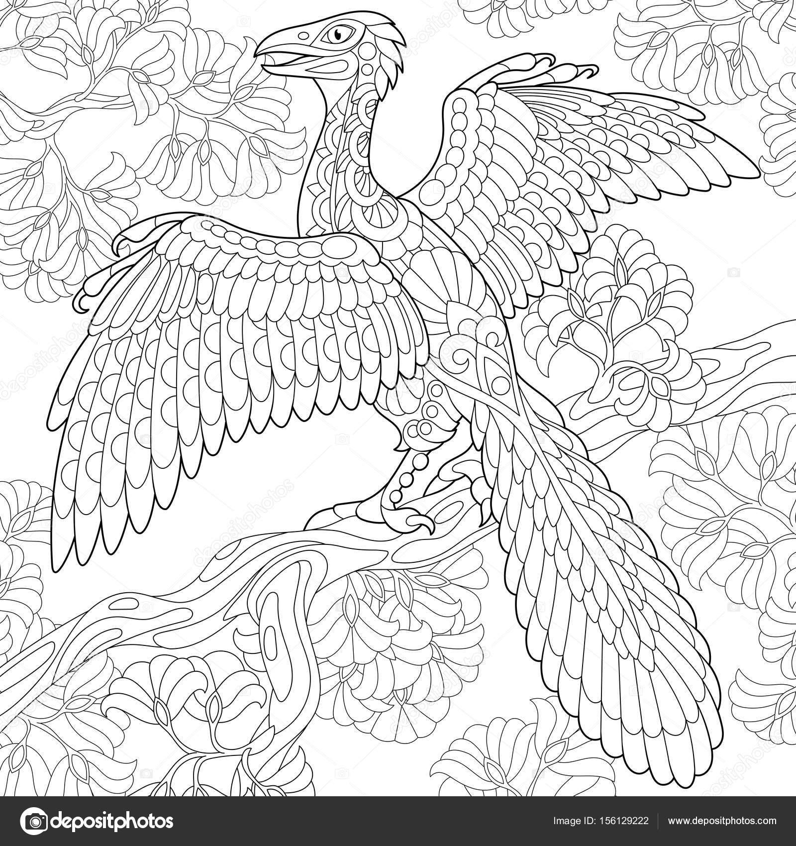 zentangle archeopteryx dinosaurio — Vector de stock © Sybirko #156129222