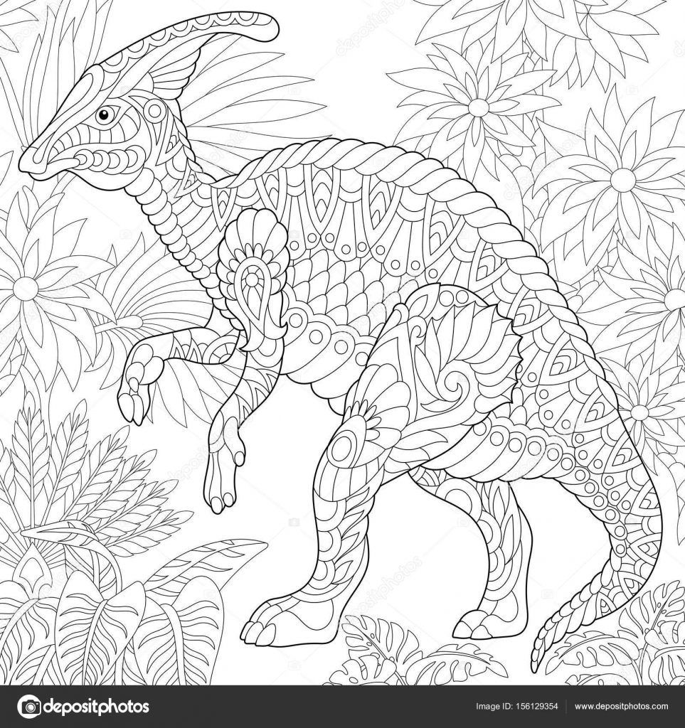Coloriage Dinosaure Adulte.Dinosaure Hadrosaure Zentangle Image Vectorielle Sybirko C 156129354