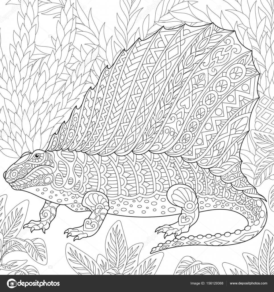 dinosaurio dimetrodon de zentangle — Archivo Imágenes Vectoriales ...