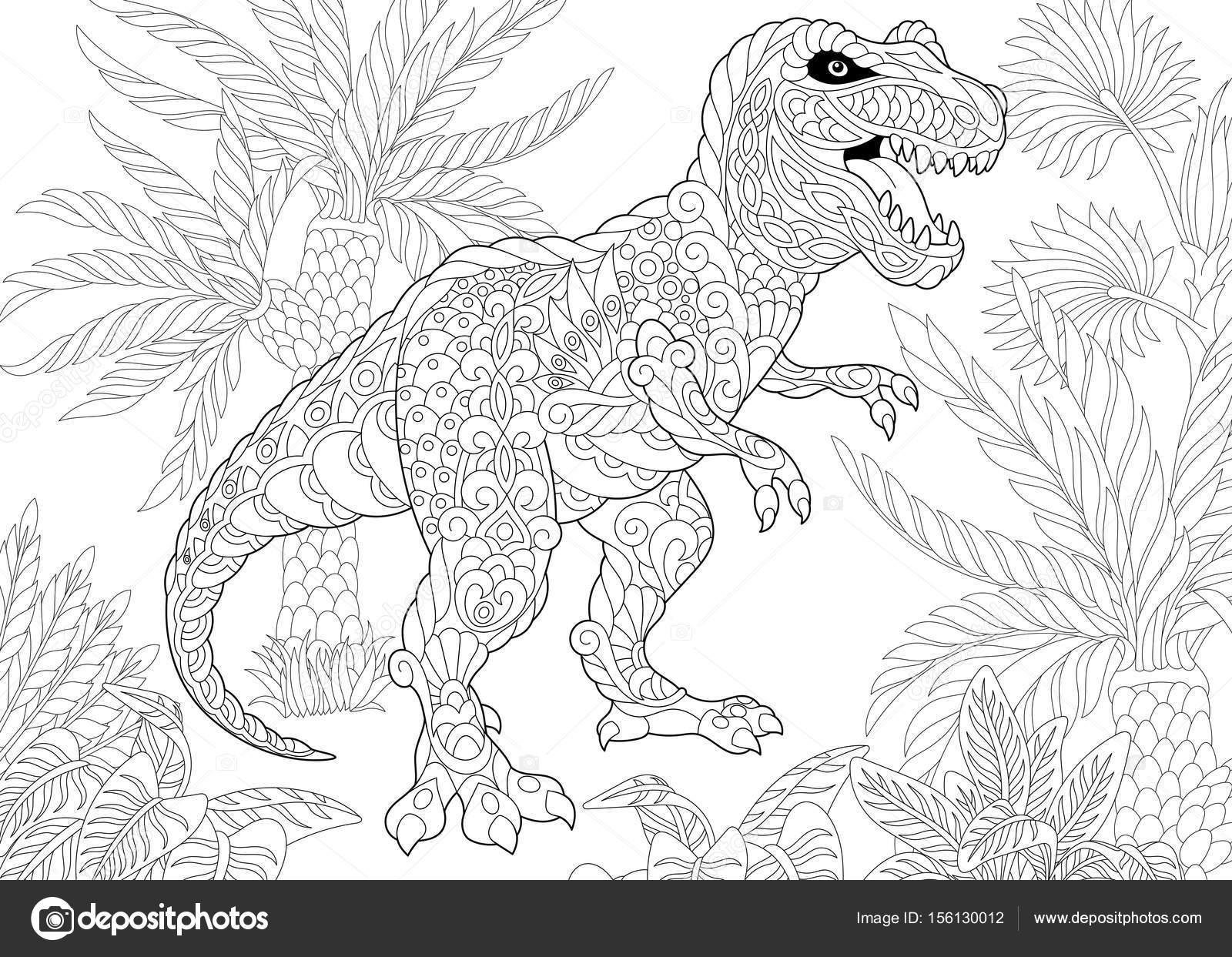 Coloriage Dinosaure Adulte.Dinosaure Tyrannosaure Zentangle Image Vectorielle Sybirko