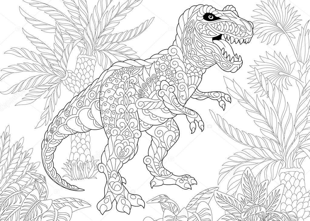 Dinossauro tiranossauro de zentangle vetores de stock - Mandala dinosaure ...