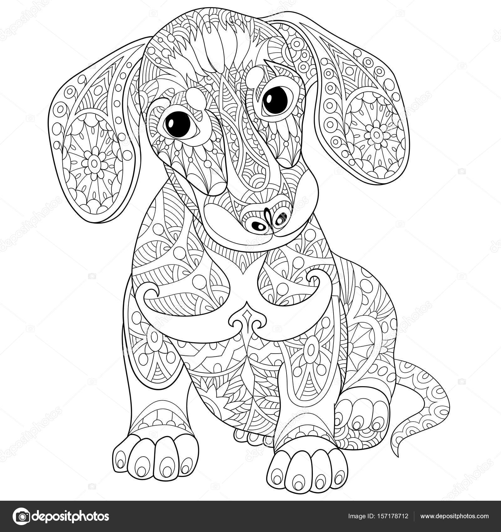 Zentangle gestileerde teckel puppy hondje stockvector - Dessin teckel ...