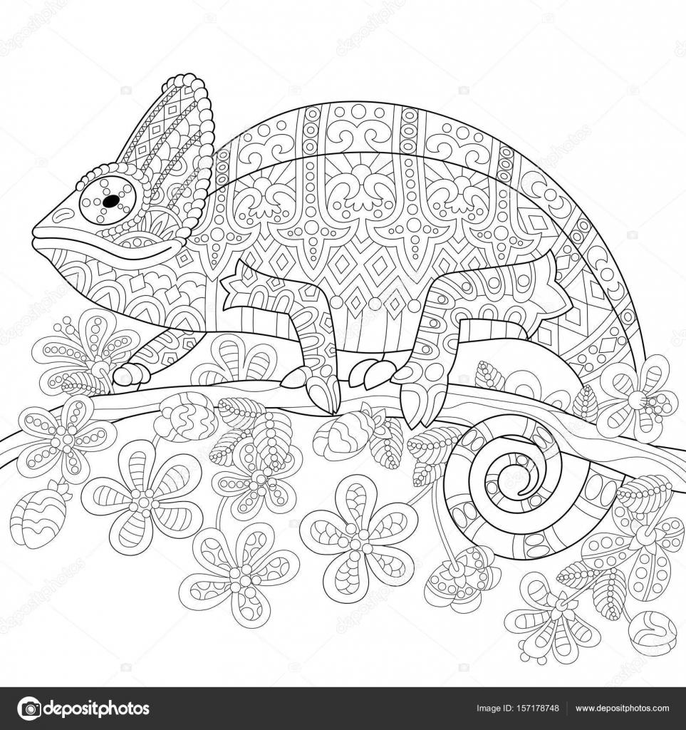 Lagarto camaleón estilizada de zentangle — Vector de stock © Sybirko ...