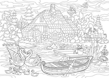 Zentangle stylized rural landscape
