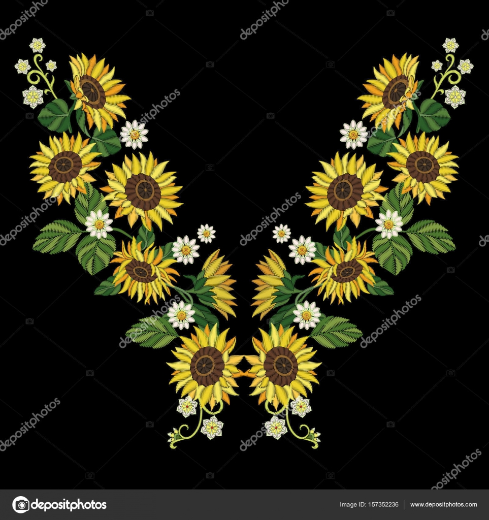 Embroidery Sunflowers And Daisy Flowers Stock Vector