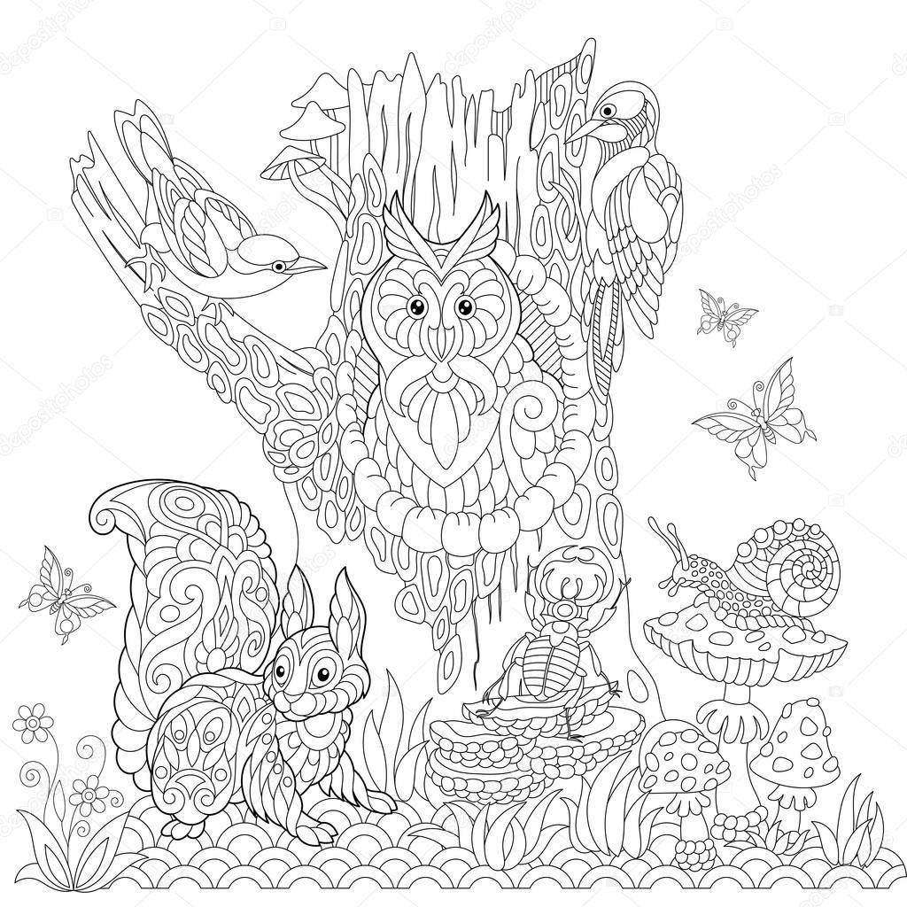 Zentangle stylized forest landscape