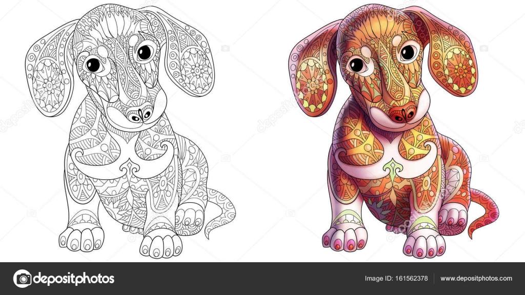 Perro dachshund estilizada de zentangle — Archivo Imágenes ...