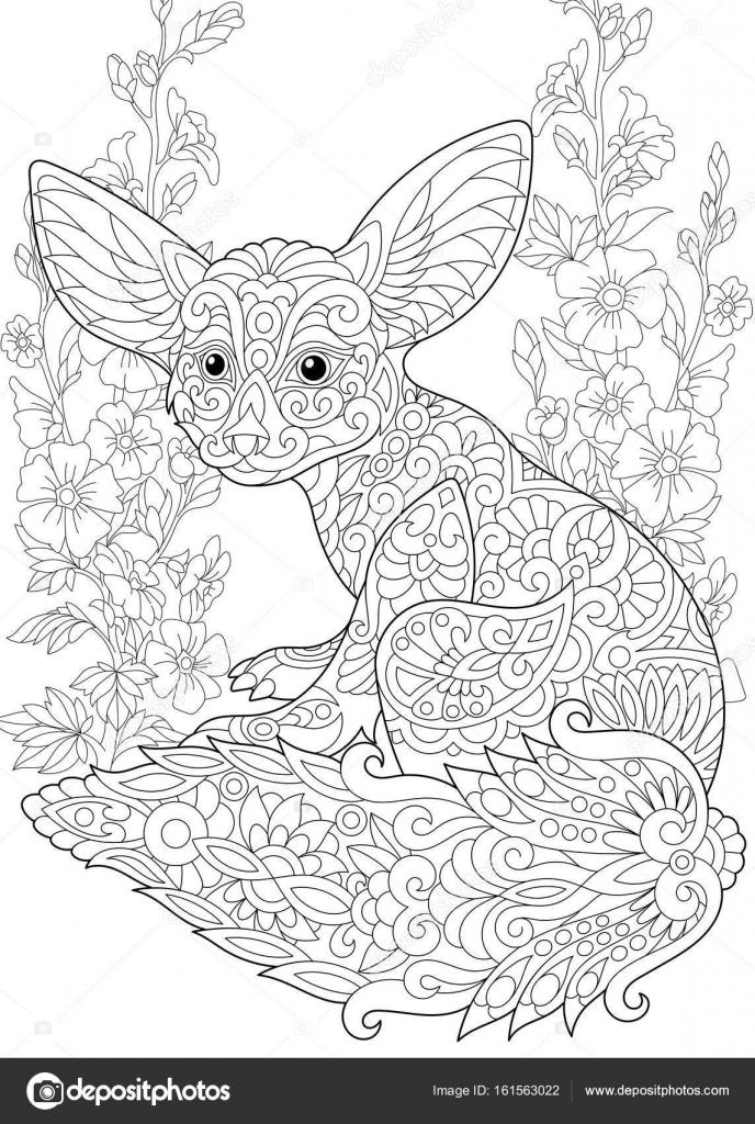 Zentangle estilizado fennec fox — Vector de stock © Sybirko #161563022
