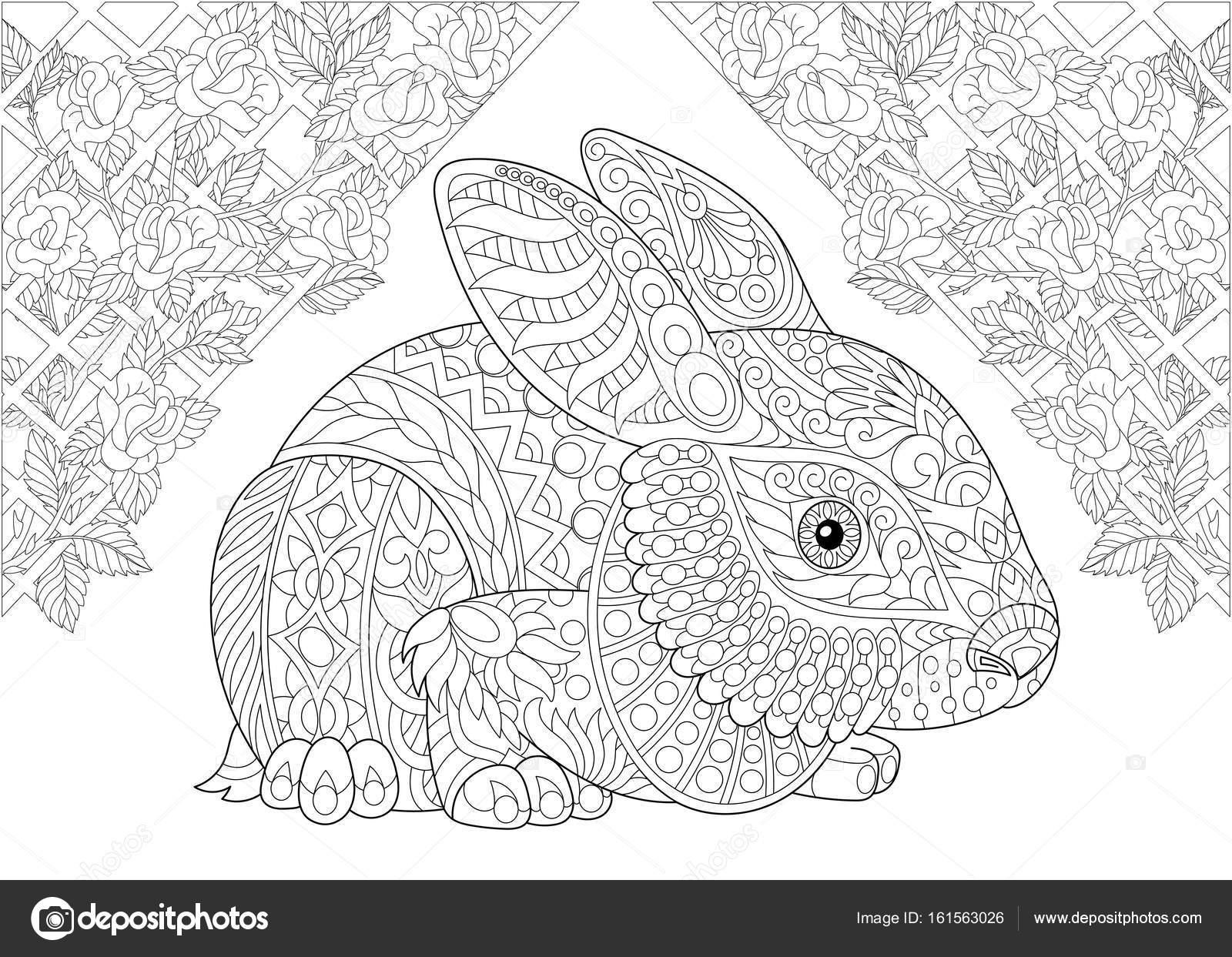 Zentangle estilizado conejo del país de las maravillas — Archivo ...