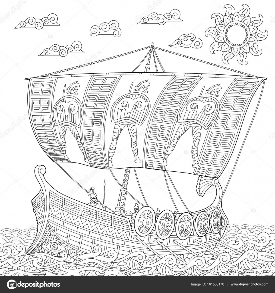 Coloriage Bateau Galere.Galere Grecque Antique Zentangle Stylise Image Vectorielle