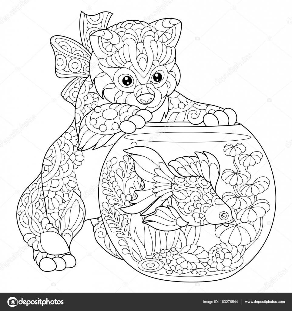 Zentangle estilizado gato y peces de colores — Archivo Imágenes ...