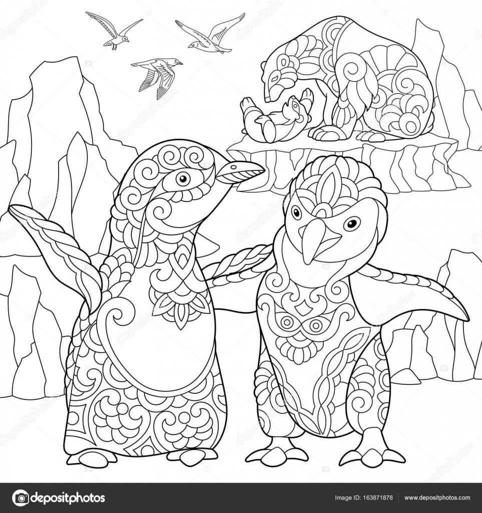 Zentangle estilizado pingüinos y osos polares — Archivo Imágenes ...