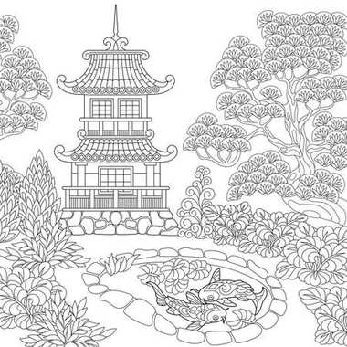 Zentangle stylized pagoda