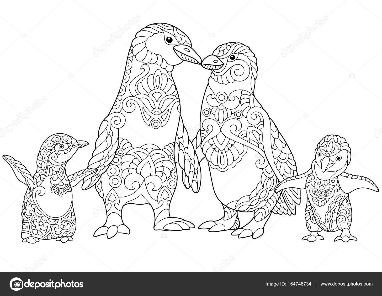 Familia de pingüinos de zentangle estilizado — Archivo Imágenes ...