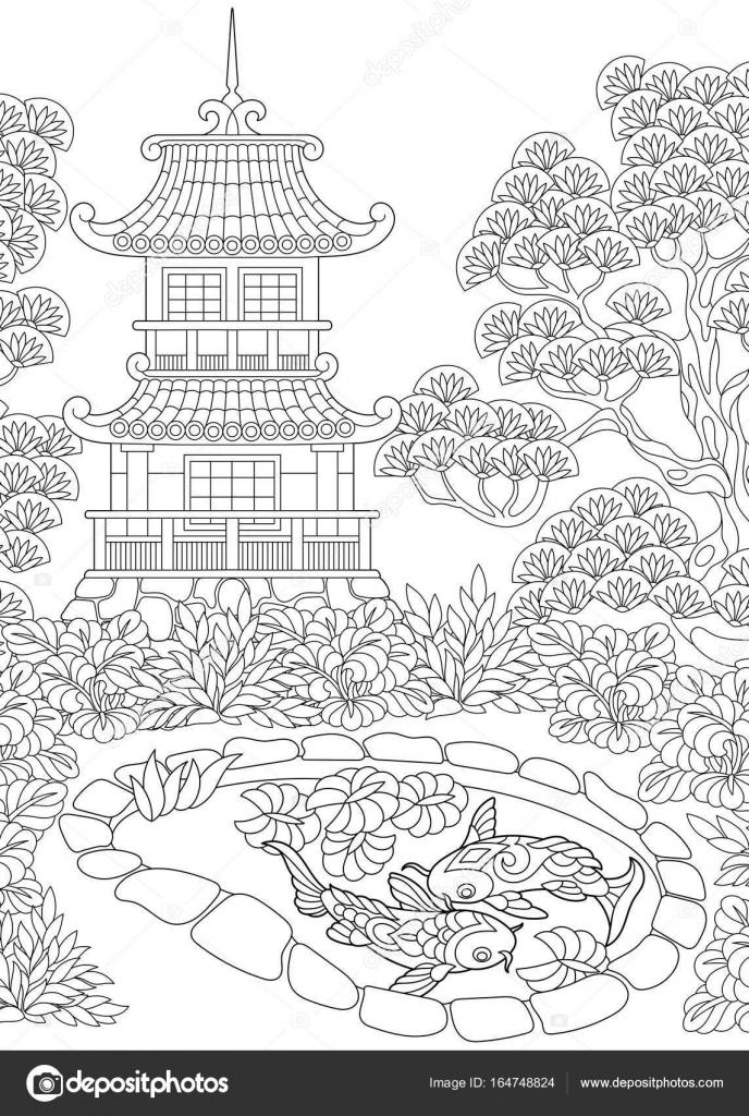 Dibujos: paisajes chinos para colorear | Pagoda estilizada zentangle ...