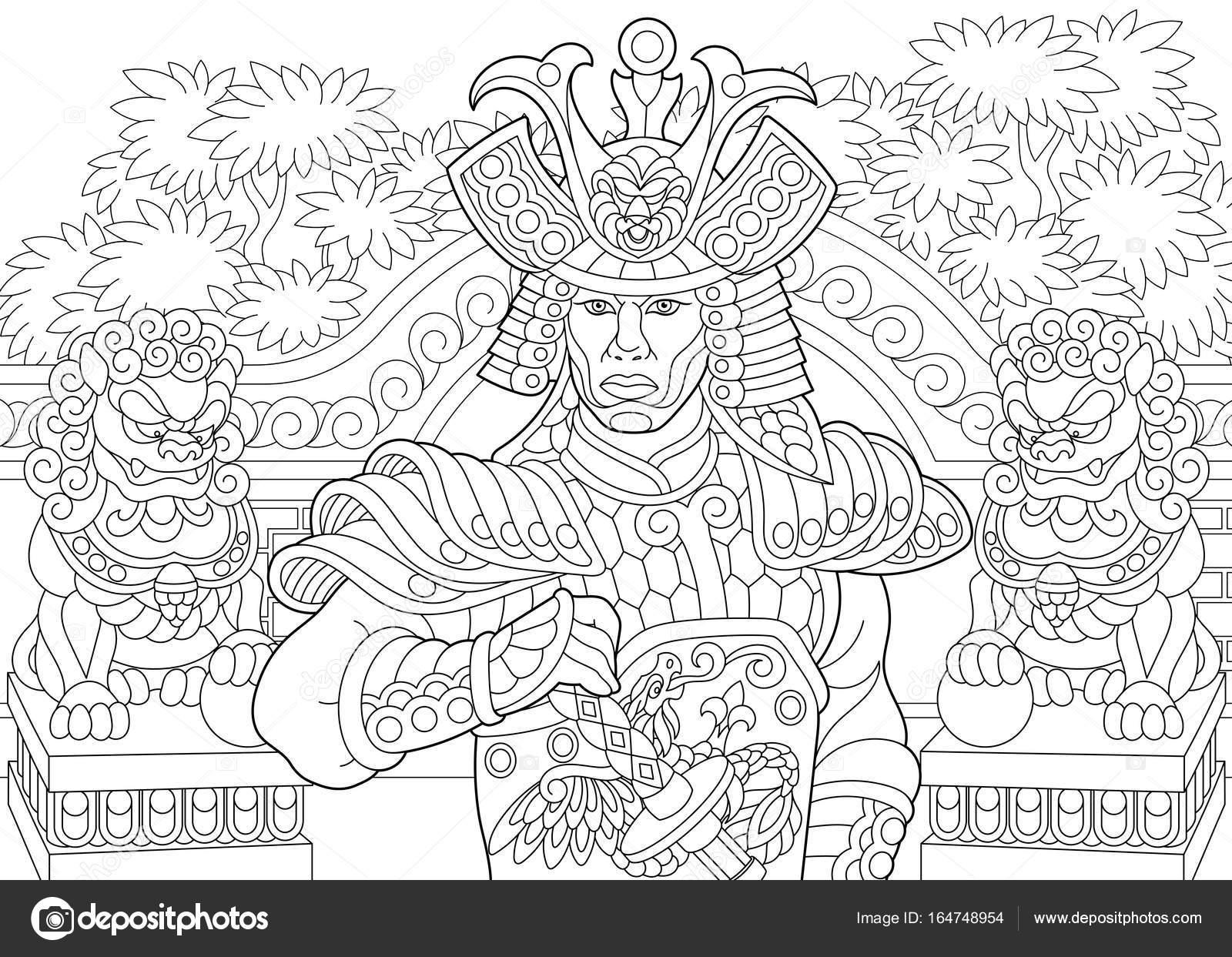 Samourai Japonais Zentangle Stylise Image Vectorielle Sybirko