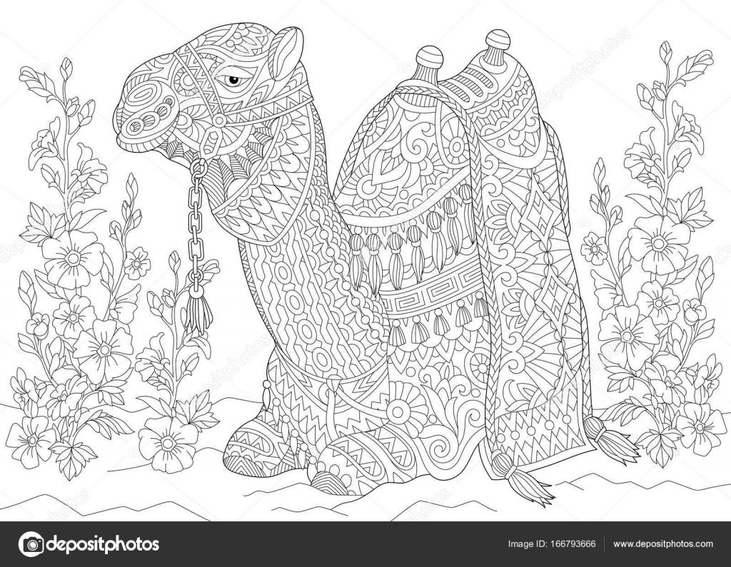 Zentangle estilizadas flores y camello — Archivo Imágenes ...