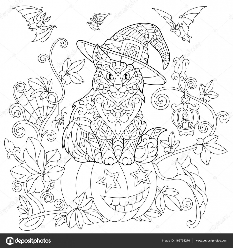 Zentangle stilisiert Halloween Katze — Stockvektor © Sybirko #166794270