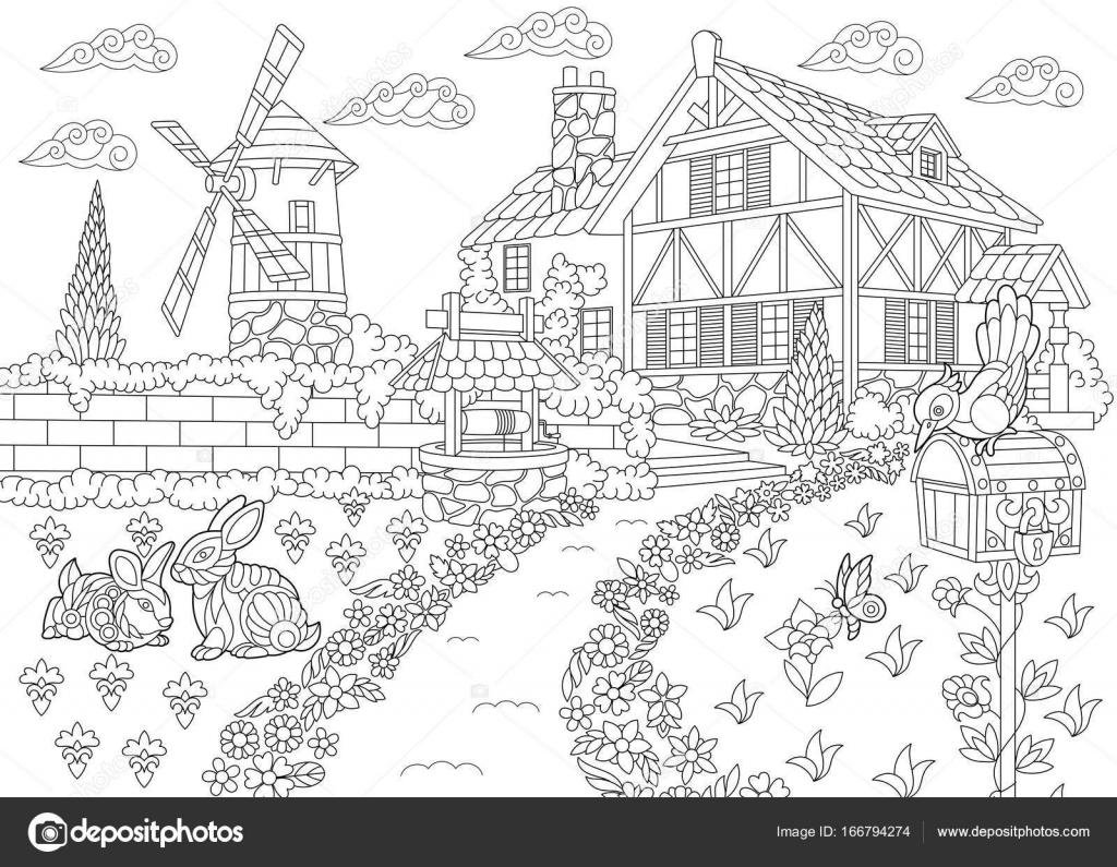 Imágenes Pozos De Agua Para Colorear Mansión De La Campiña