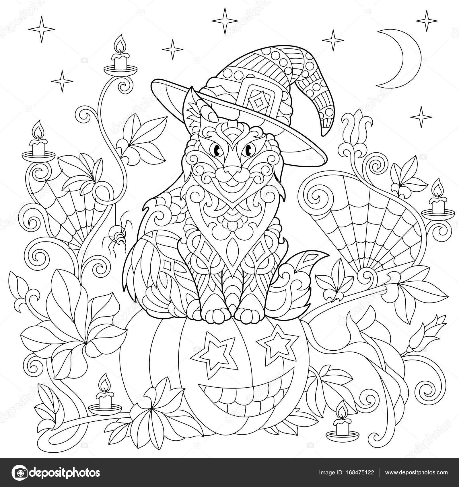 Zentangle Stilisiert Halloween Malvorlagen Stockvektor Sybirko