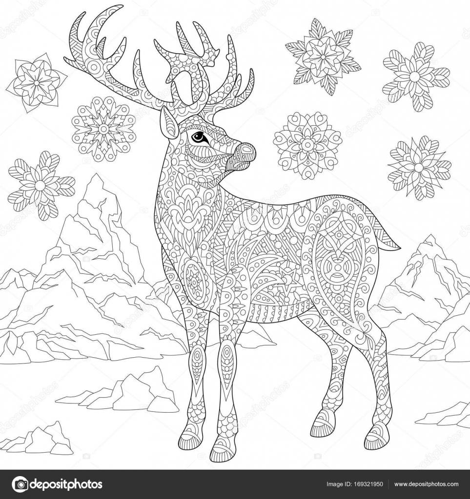 Zentangle Stilize Ren Geyiği Ve Kar Stok Vektör Sybirko 169321950