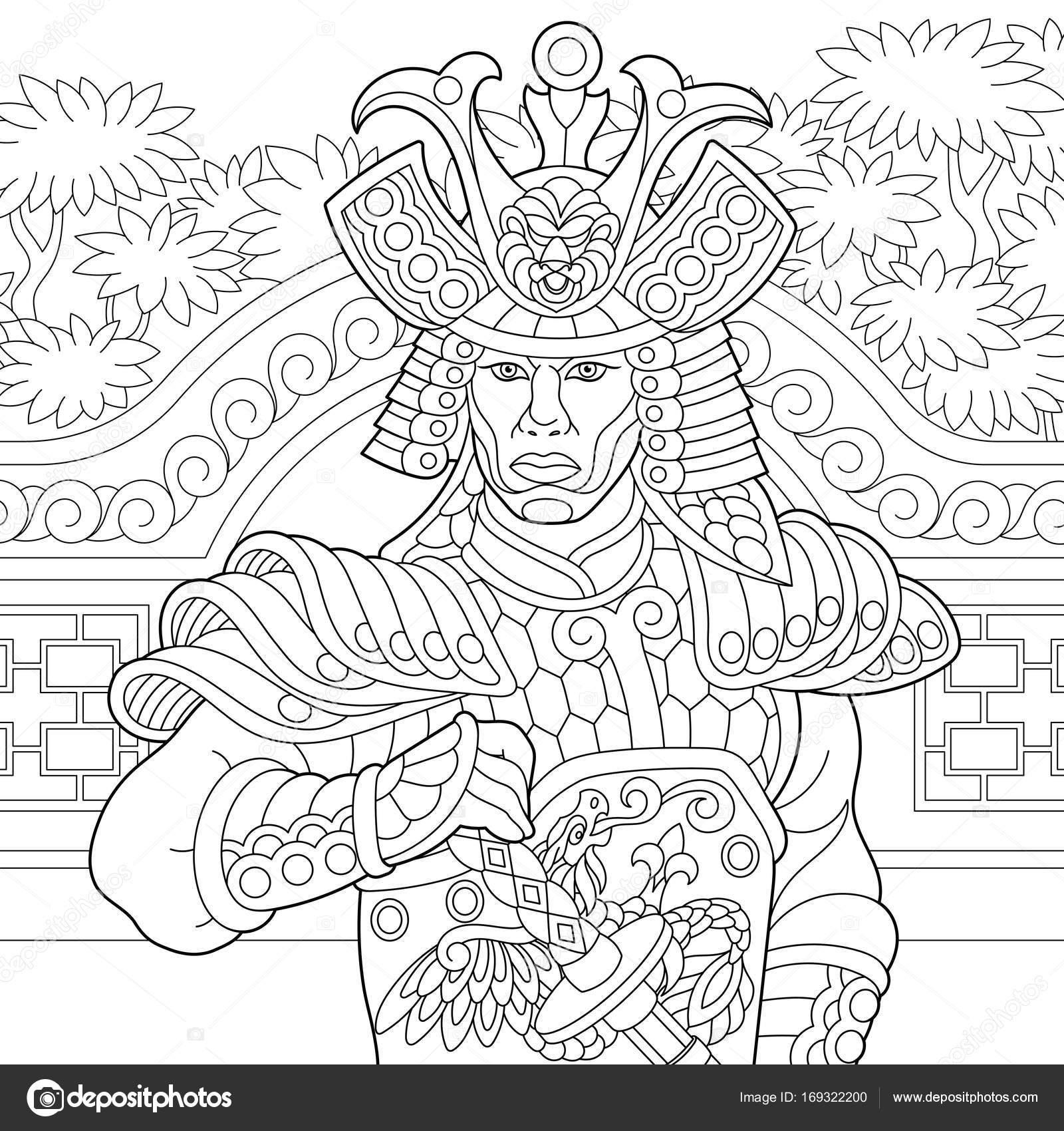 Zentangle estilizada japonés samurai — Archivo Imágenes Vectoriales ...