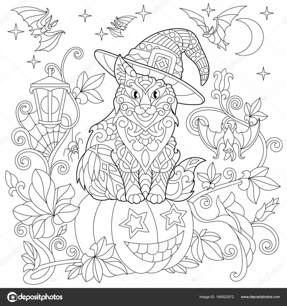 Zentangle estilizado gato halloween — Vector de stock © Sybirko ...