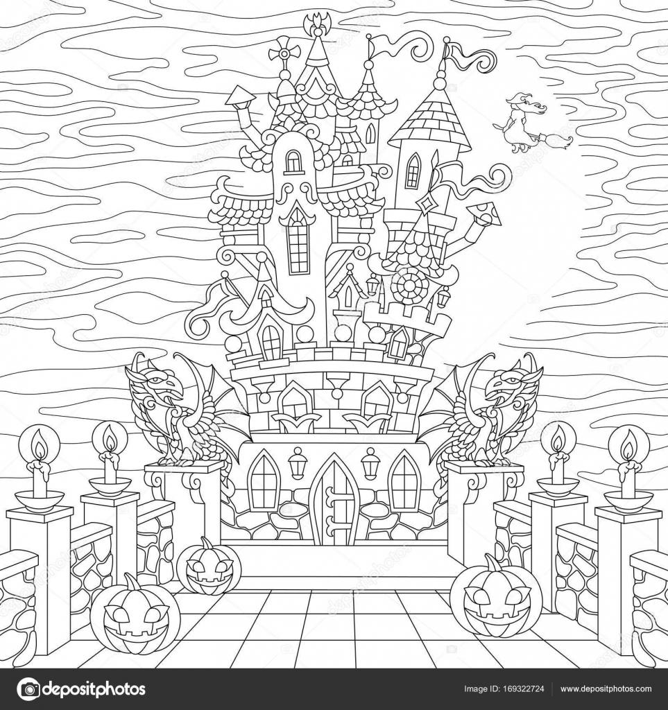 Zentangle estilizado Castillo halloween — Archivo Imágenes ...