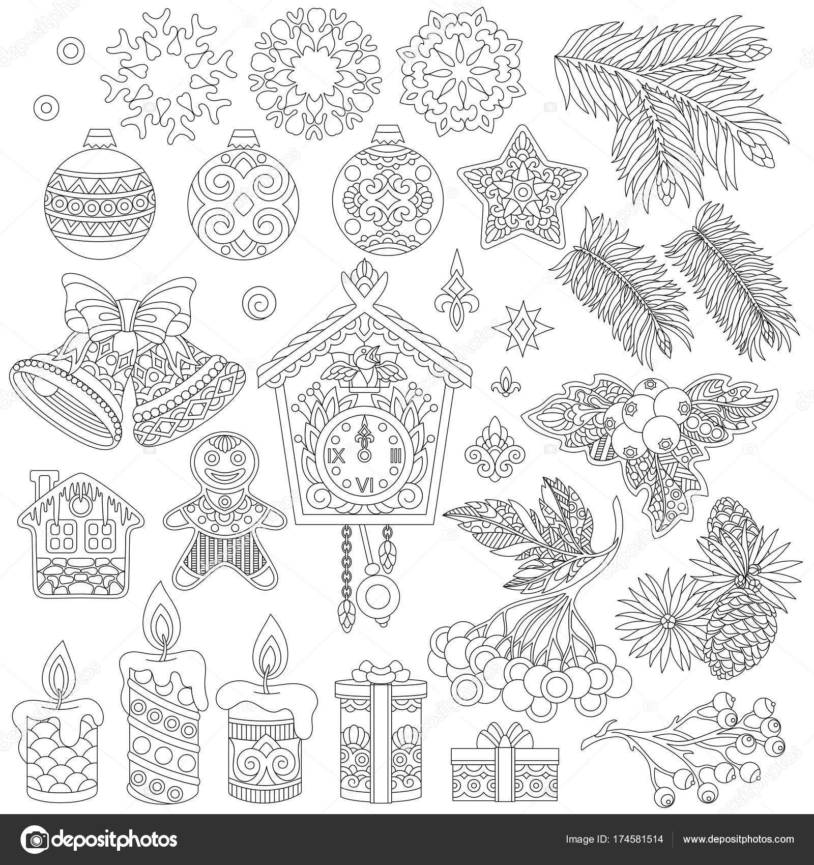 Adornos de Navidad vintage zentangle — Vector de stock © Sybirko ...