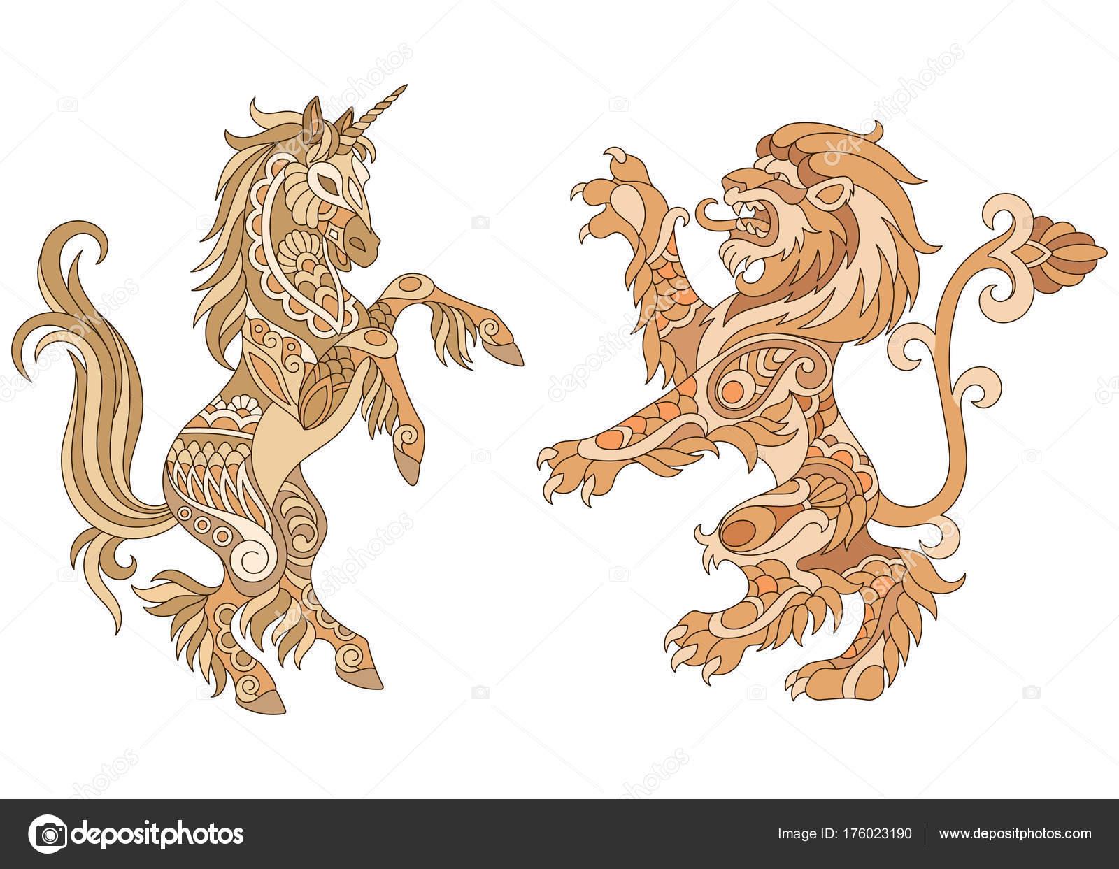 ユニコーンとライオンの紋章デザ...
