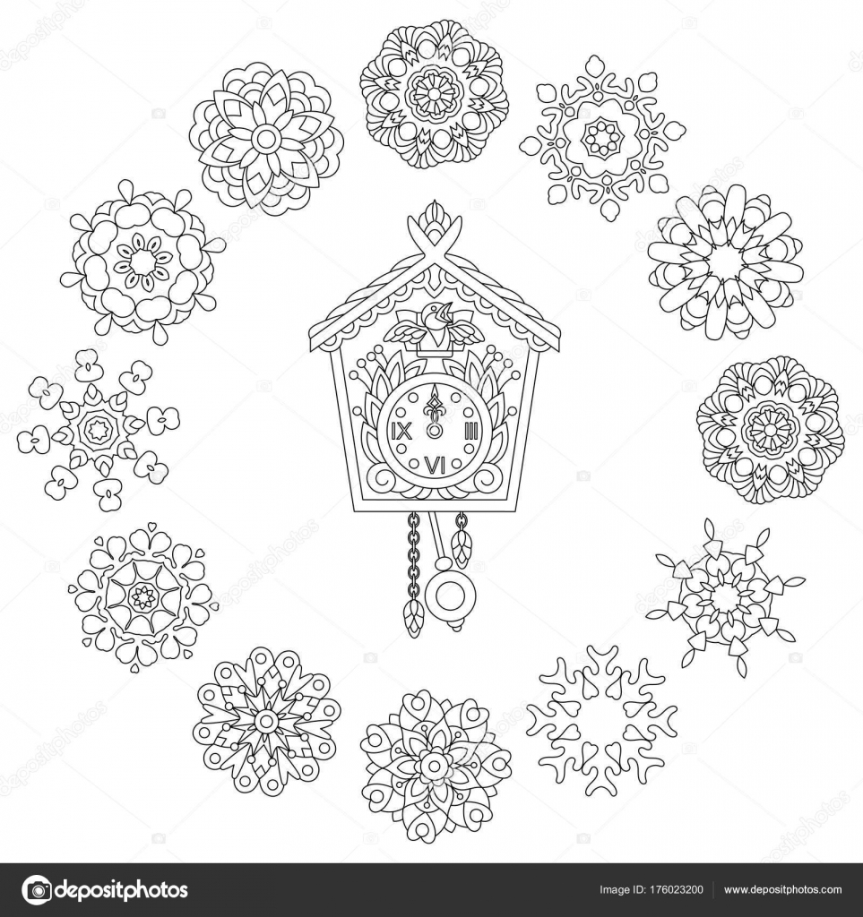 Christmas Coloring Page Old Antique Wall Clock With Cuckoo Bird Singing And Vintage Winter Snowflakes Freehand Sketch Drawing For 2018 Happy New Year