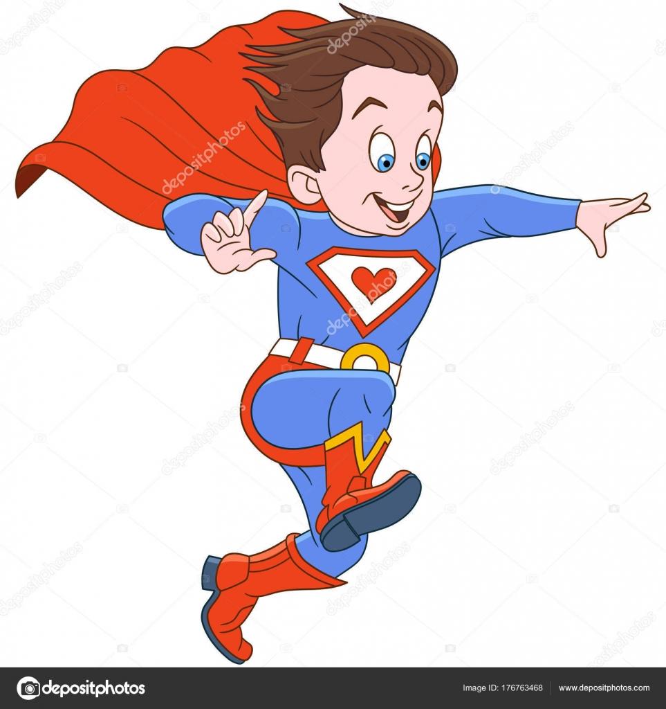 Dibujos animados niño superhéroe — Archivo Imágenes Vectoriales ...