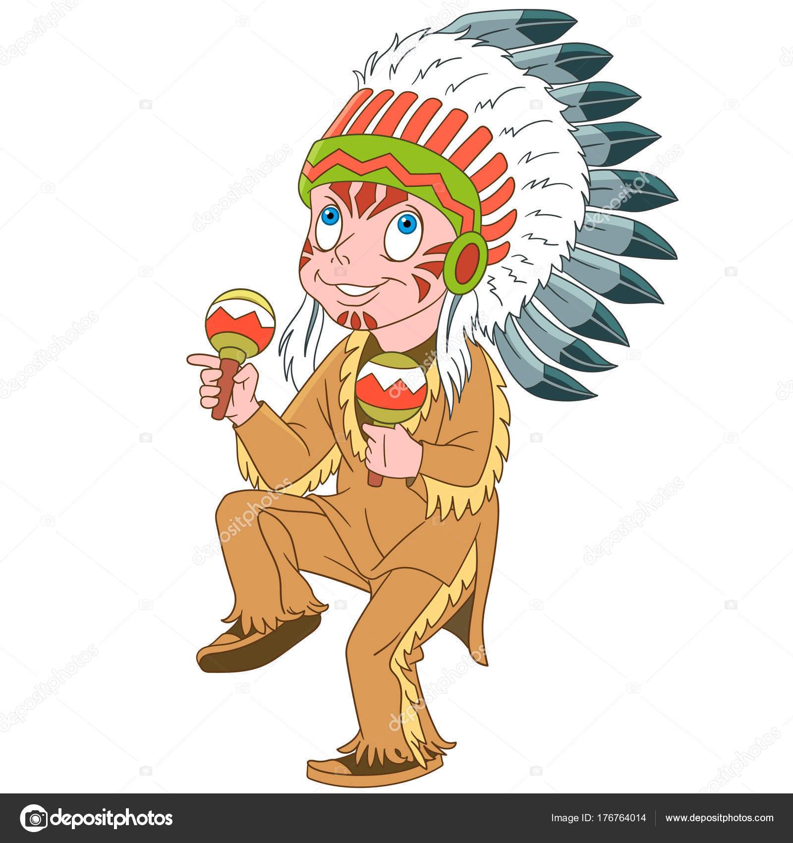 Kresleny Nativni Americky Indiansky Nacelnik Stock Vektor