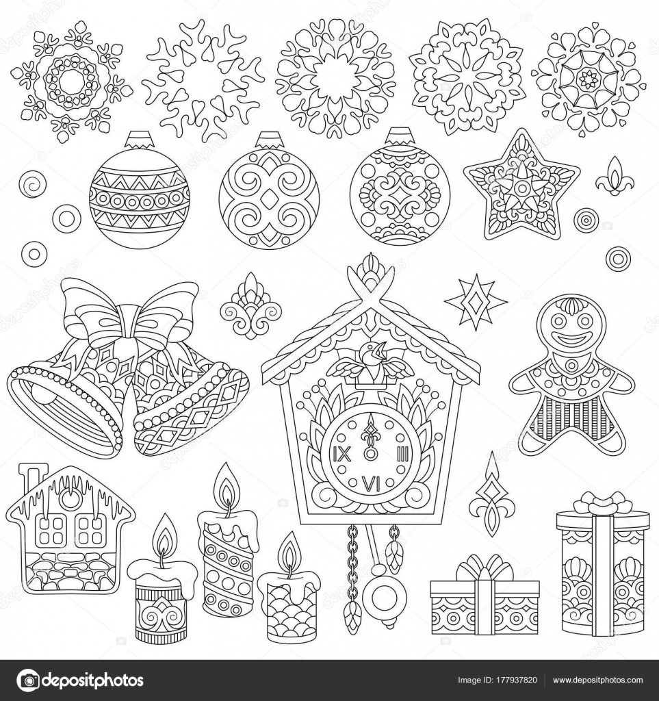 Zentangle Christmas doodle ornaments — Stock Vector © Sybirko #177937820