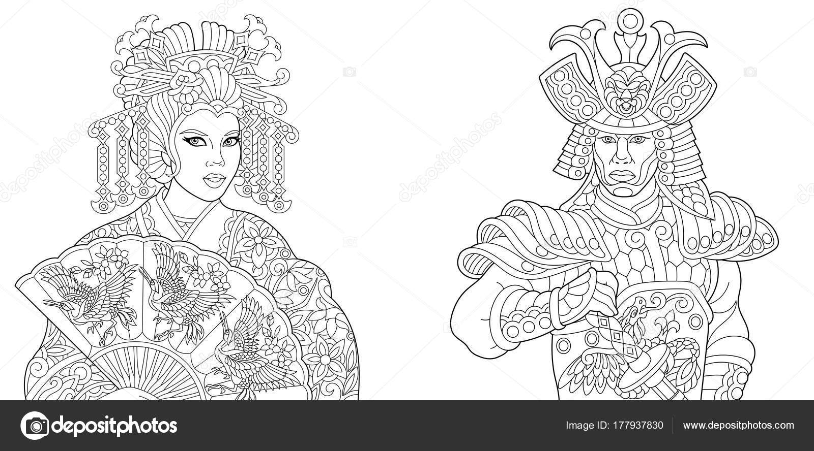 japanese people coloring page — Stock Vector © Sybirko #177937830