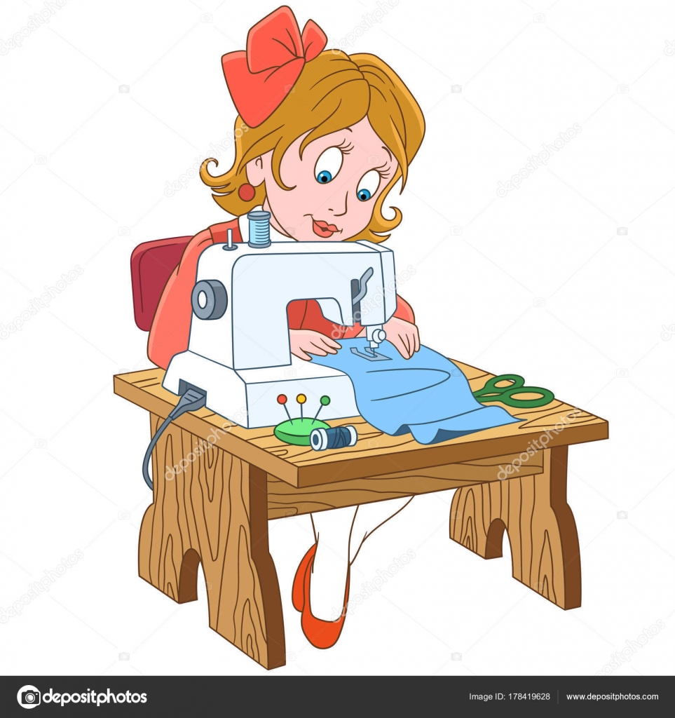 Im genes costureras graciosas costurera de ni a de dibujos animados vector de stock - Dessin couturiere ...