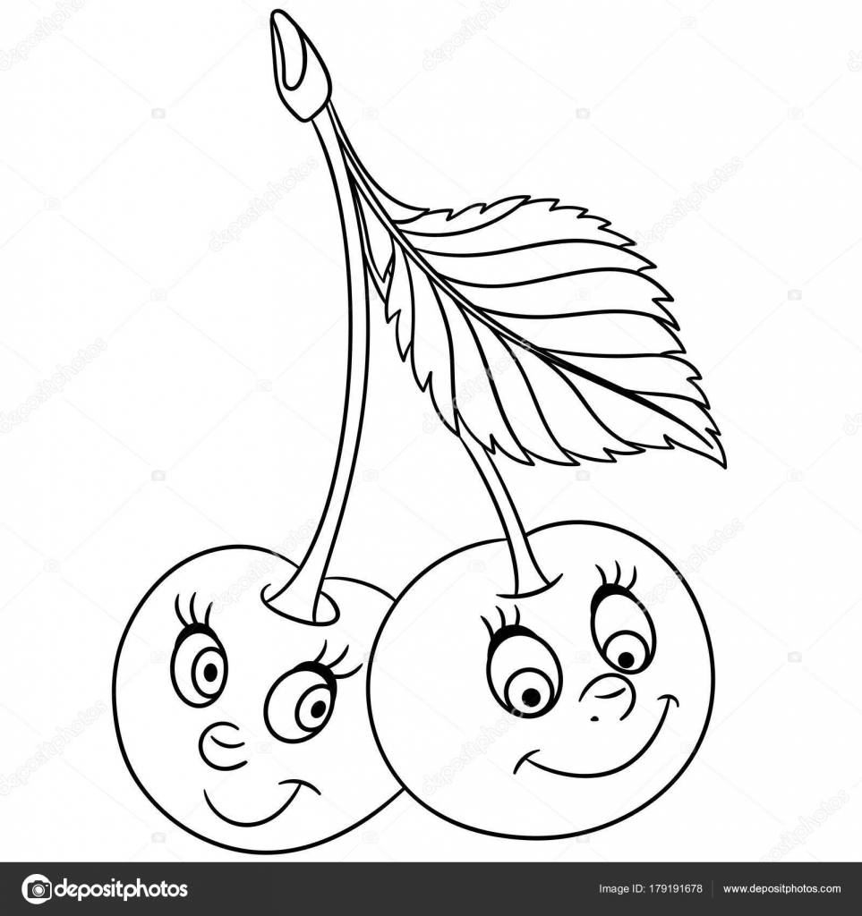 Coloring Book Coloring Page Cartoon Cherry Twins Character Happy
