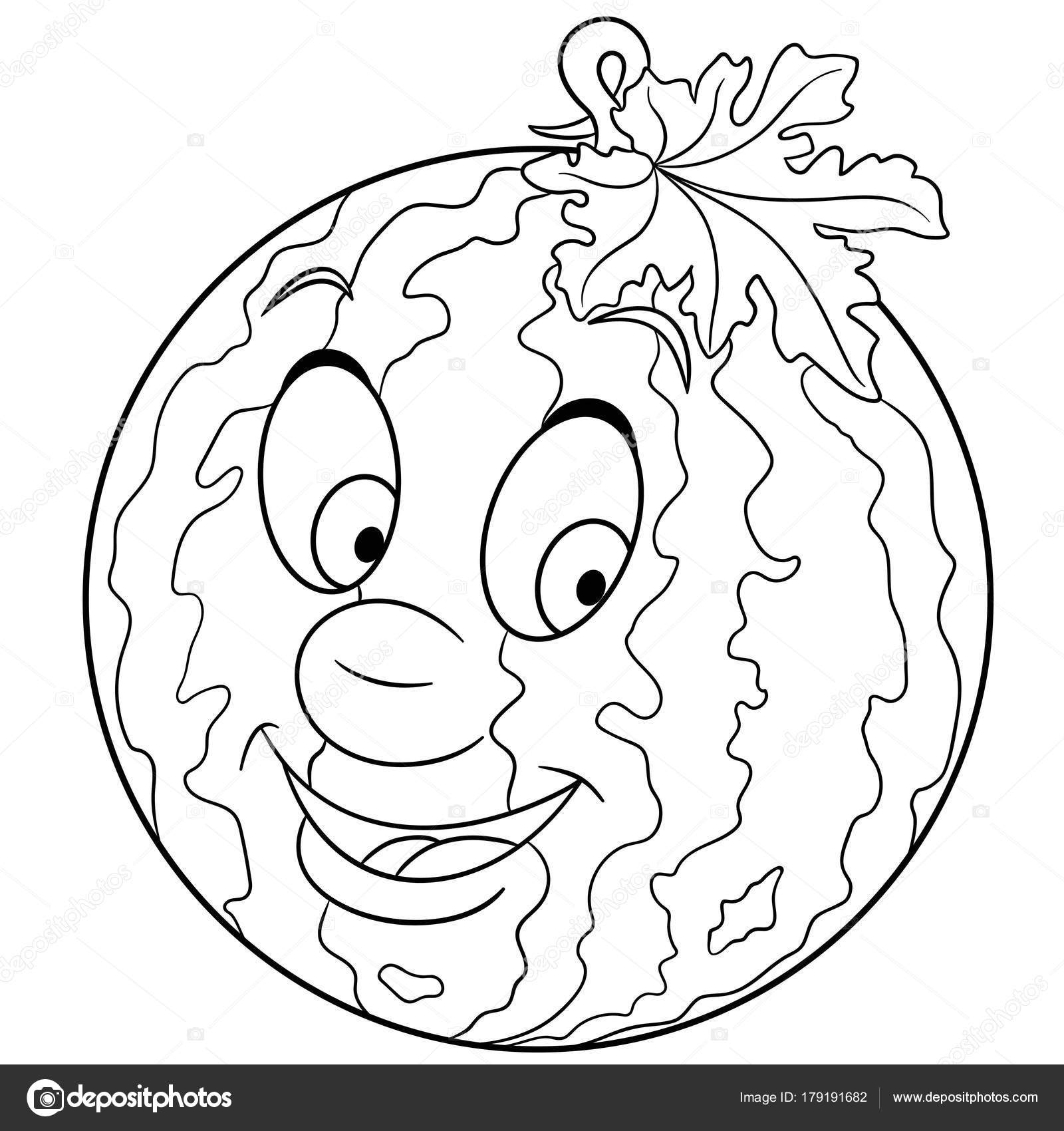 Coloring Book Page Cartoon Watermelon Character Happy Fruit