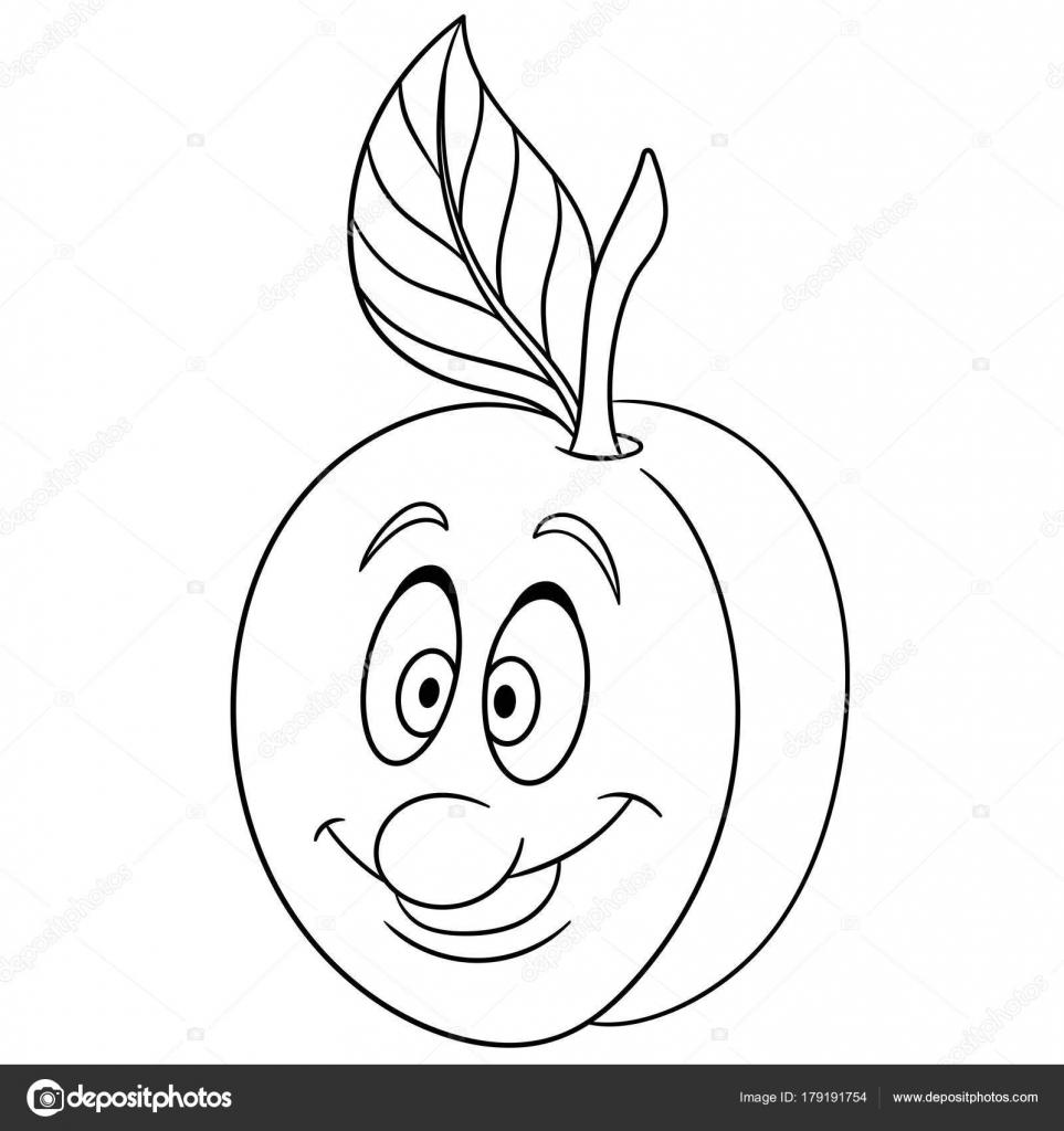 Boyama Kitabı Boyama Sayfası Kayısı Karakter Karikatür Mutlu Meyve