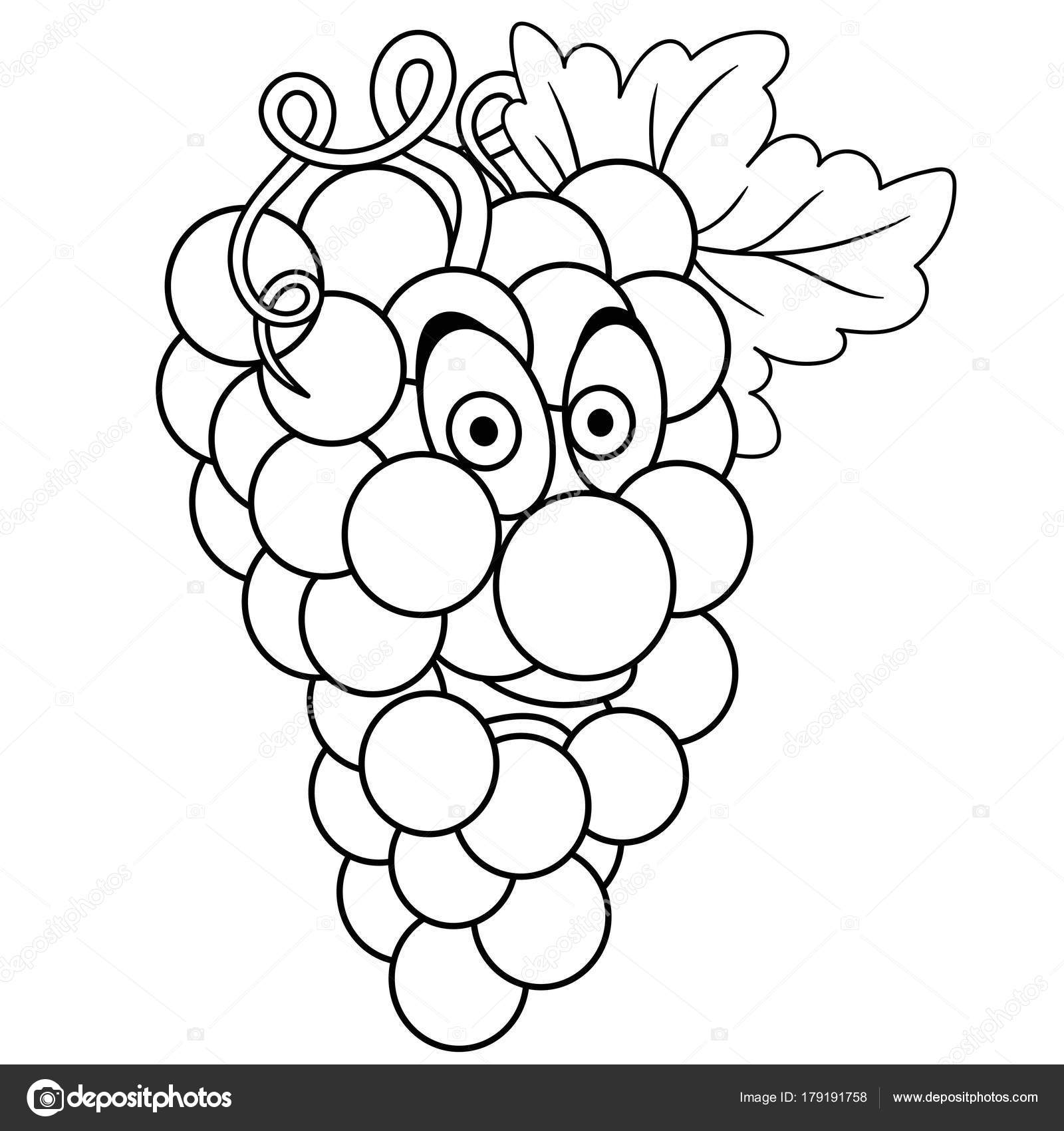 Coloring Book Coloring Page Cartoon Grapes Character Happy Fruit ...