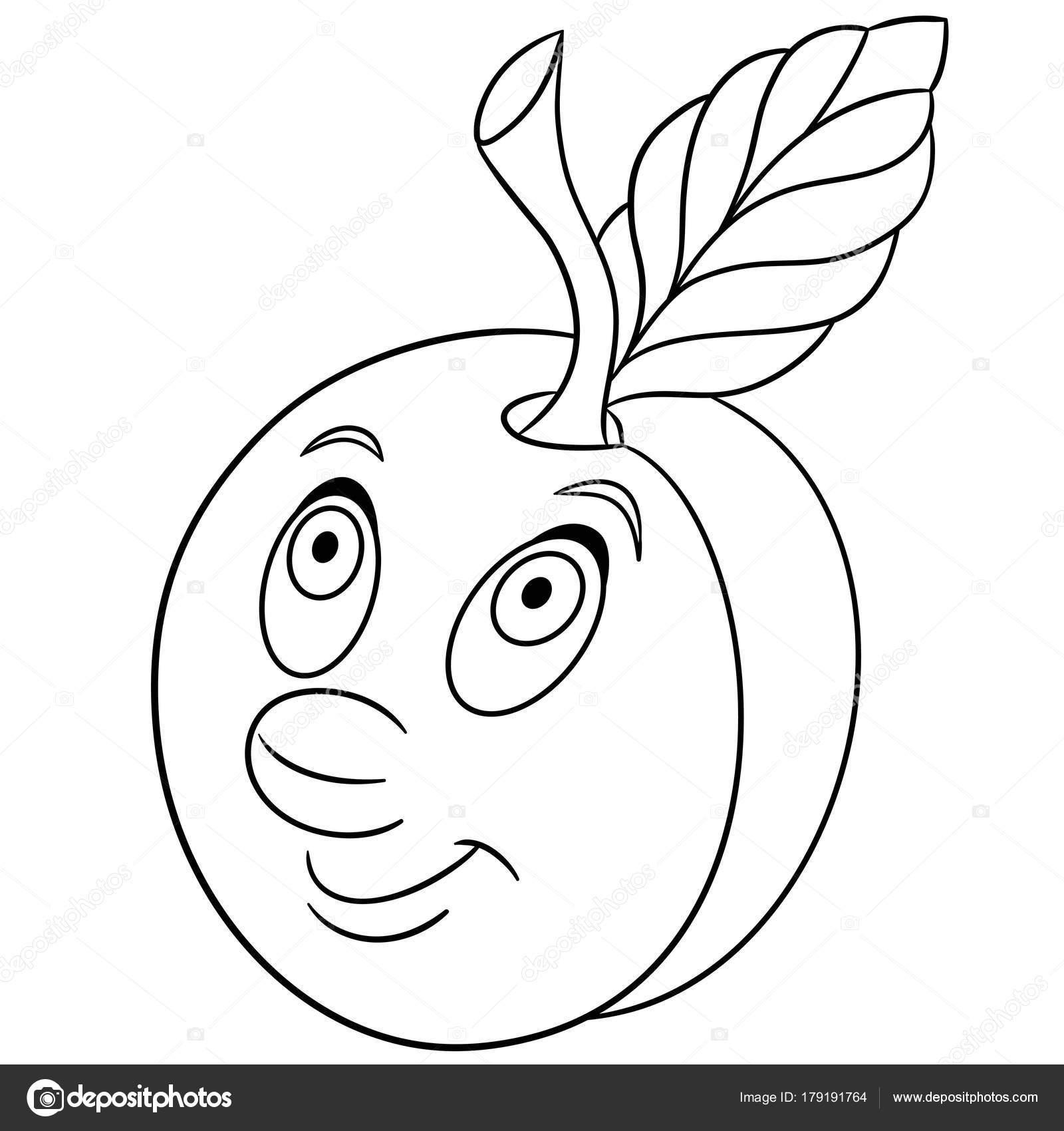 Boyama Kitabı Boyama Sayfası Erik Karakter Karikatür Mutlu
