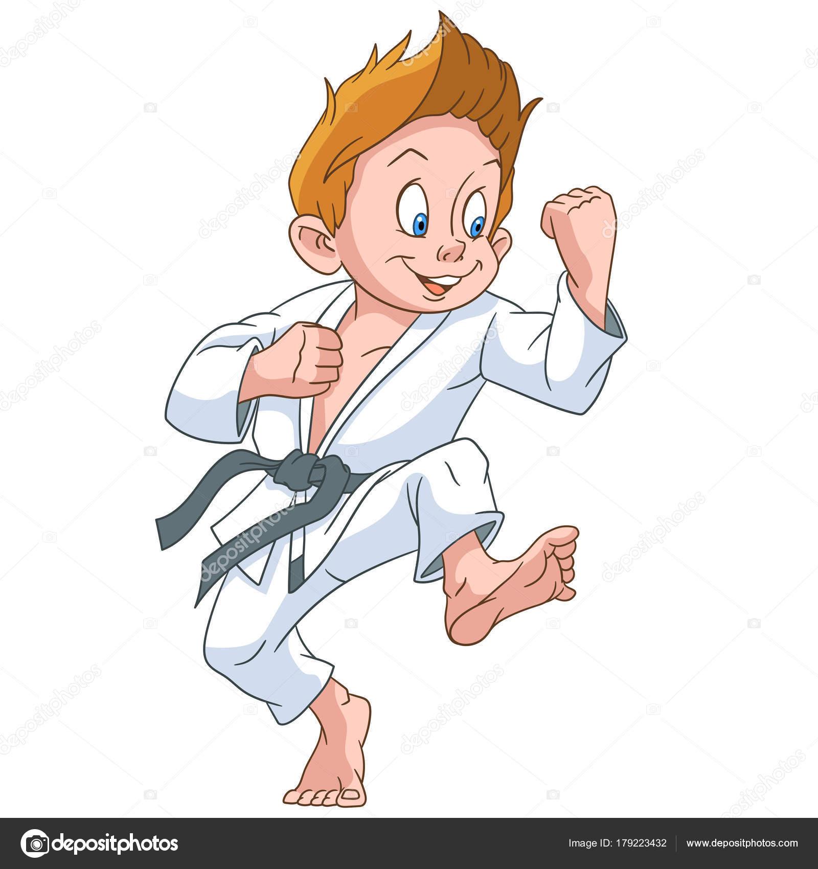 Dibujos Karate Para Imprimir Karateka Dibujos Animados Vector