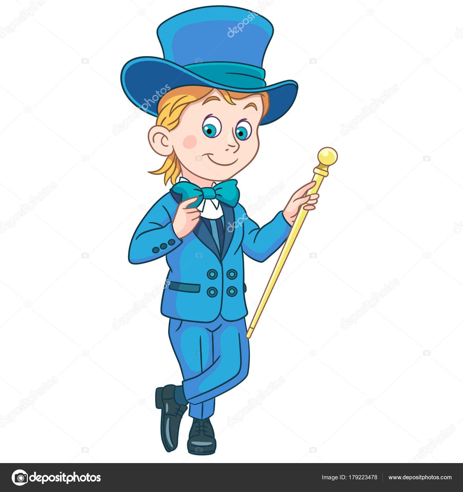 Caballero de dibujos animados en smoking y sombrero de Copa ...
