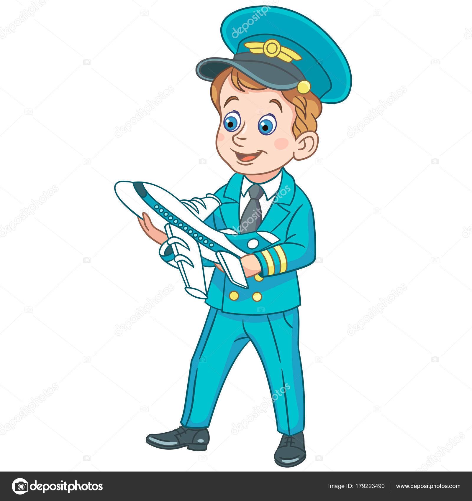 Piloto De Avión De Dibujos Animados Con Plano Del Juguete Archivo
