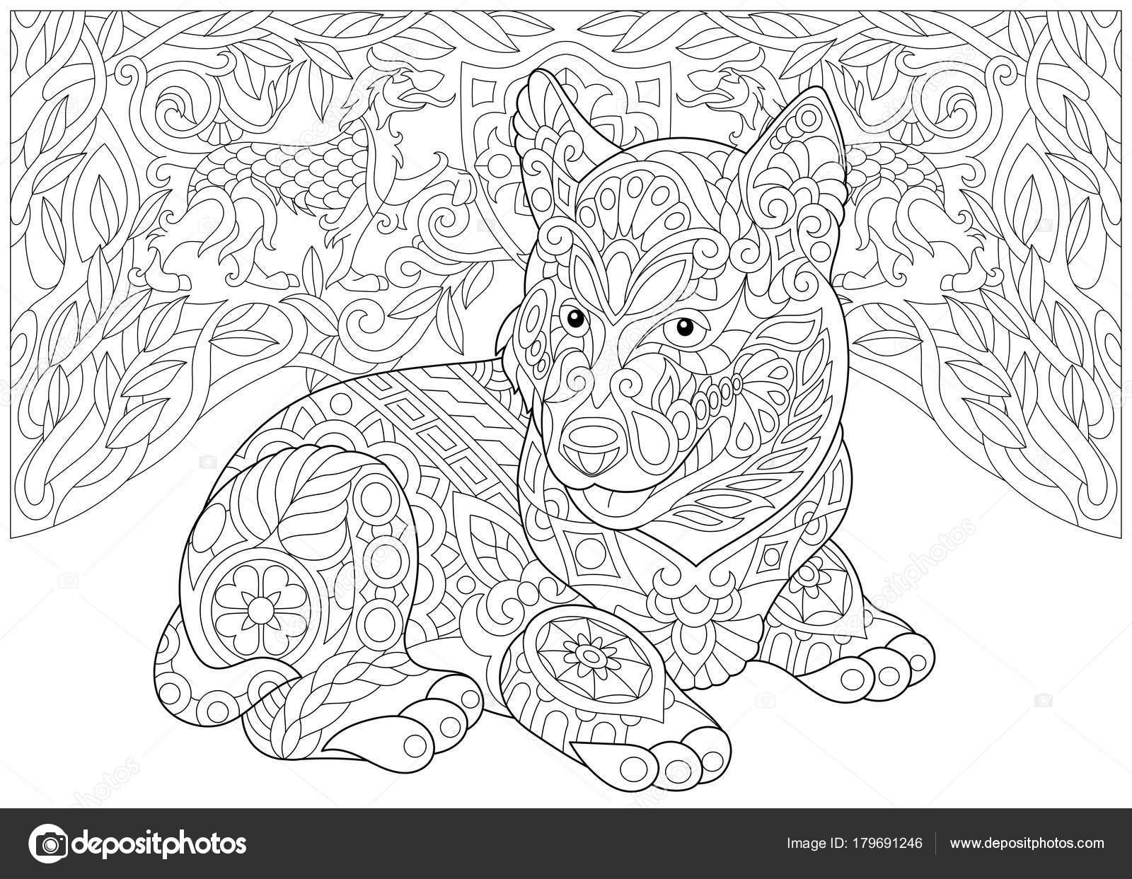 zentangle siberische husky en heraldische honden