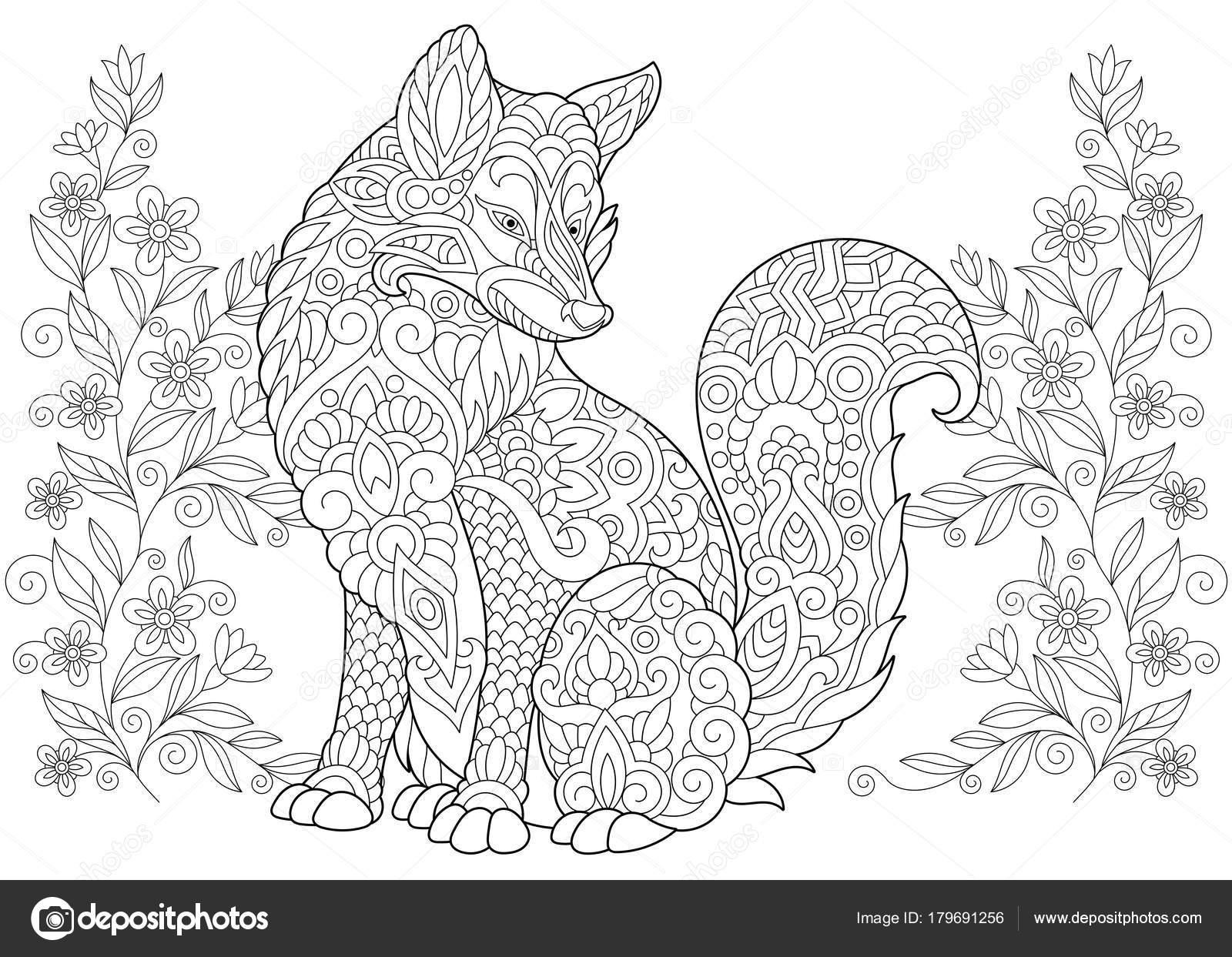 Flores silvestres y fox Zentangle — Archivo Imágenes Vectoriales ...