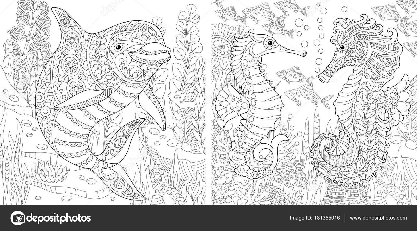 zentangle dolphin en seahorse — stockvector © sybirko
