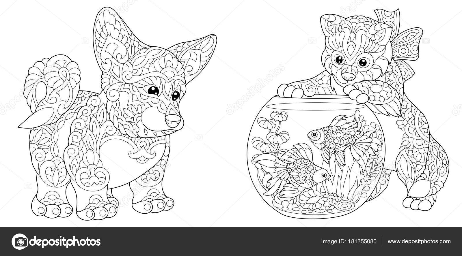 Coloring Page Adult Book Cardigan Welsh Corgi Dog Cat Playing With Goldfish In Aquarium Fish Bowl Antistress Freehand Sketch Collection