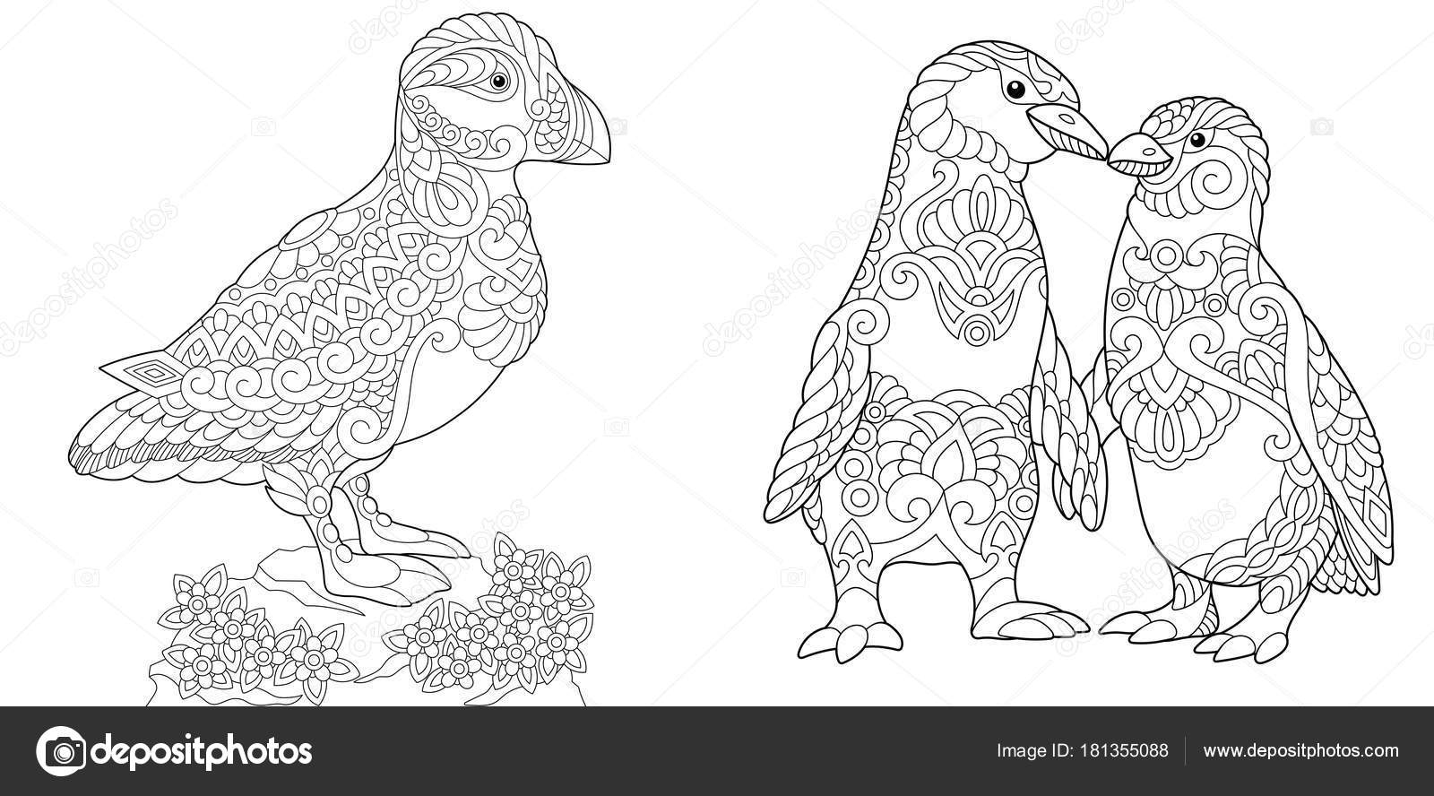 Zentangle puffin and emperor penguins — Stock Vector © Sybirko ...