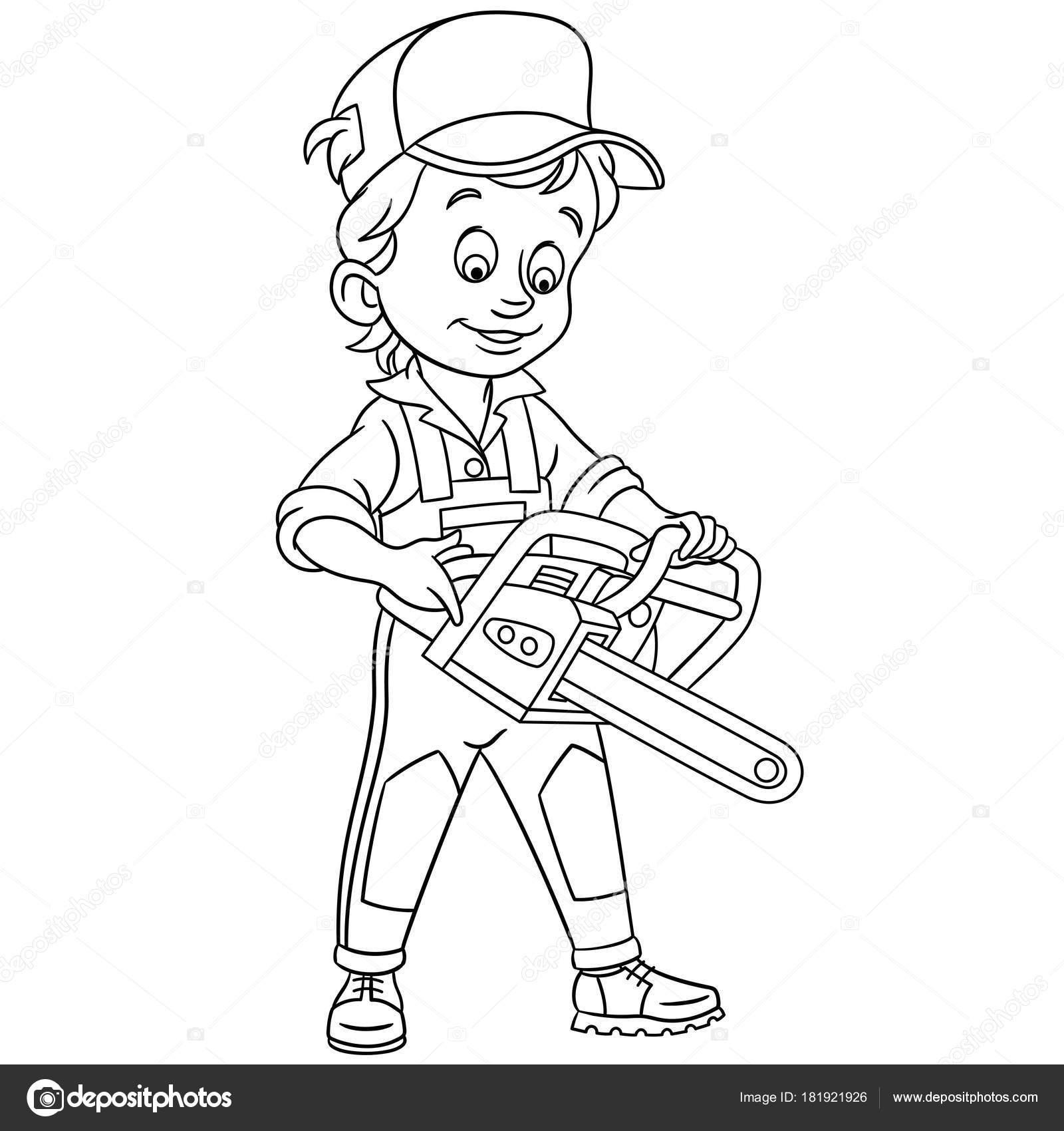 página para colorir desenhos animados lenhador com moto serra
